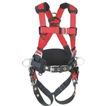 Construction style harness w/ tongue-buckle legs